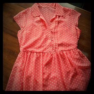 Coral Pink Polka Dot Dress